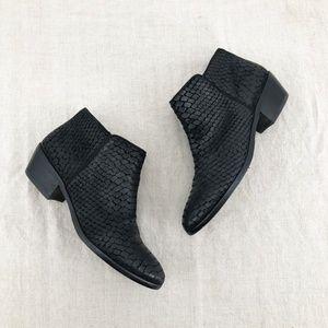 SAM EDELMAN Black Reptile Print Leather Booties